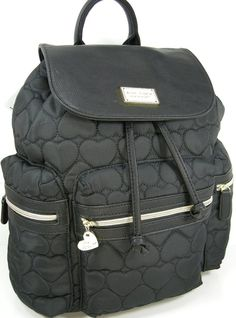 b18fd0bcf8 Betsey Johnson BR21875 Puffy Quilted Hearts Logo Flap Backpack in Black -  Swanky Bazaar - 1