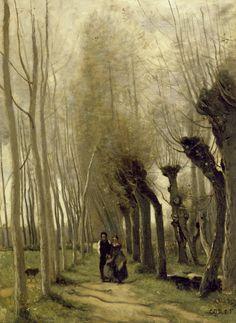 """""""− nous étions l'époux et l'épouse pour tout un beau matin d'été."""" Sylvie (VI. − Othys) Gérard de Nerval. Image: """"Les saules de Marissel"""" Jean-Baptiste-Camille Corot"""