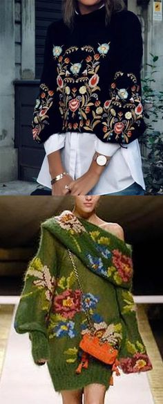 Winter Flower Embroidery Sweaters Woman Knitwear and Sweaters nasty woman ugly christmas sweater Vetement Hippie Chic, Mode Boho, Belted Shirt Dress, Mode Vintage, Mode Outfits, Mode Inspiration, Sweater Fashion, Flower Embroidery, Embroidery Designs