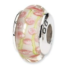 Jewelry Adviser Beads Sterling Silver Reflection Pink /& Green Floral Overlay Bead
