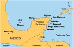 map of where Playa del Carmen is located in the Yucutan