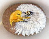 Bald Eagle Rock Paperweight, handpainted