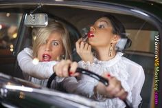 Applying makeup while driving - She wants to look good for the ER