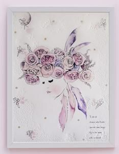 Fine art print One Sonny Day. Australian kids and children's art. Soft pink flower crown, lilac floral headdress, delicate antique lace embossing, pink purple butterflies, bubbles, feather, owl, feather headdress, fairies, fairy art, feather art. Perfect for wall art, little girls bedroom deco, children kids gifts, christening, baby shower, christmas present. Water colour, painting, quote
