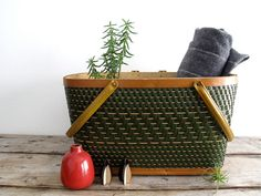 Vintage Picnic Basket.  I have two like this, one of which was my Grandma's!