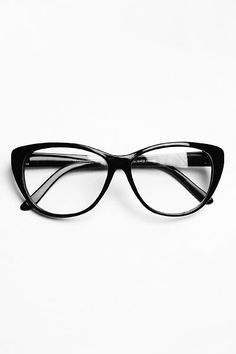 Oversized 'Violet' Clear Cat Eye Glasses - Black #1100-1
