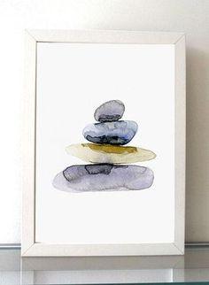 Kieselsteine Aquarellzeichnung Fine Art Prints Zen von Zendrawing
