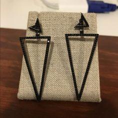 Gun metal/ black cz earrings One Oak by Sarah gun metal and black pave cubic zirconia. Brand new. Jewelry Earrings