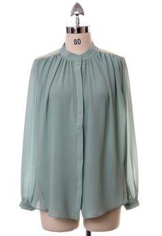 Mint Drape Front Shirt #Chicwish