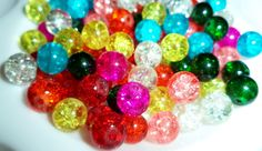 █▓▒░50pcs 8mm Bright Crackle Glass Beads░▒▓█