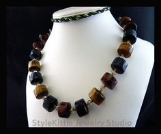 NATURAL TIGERS EYE GEMSTONE PENDANT 2 1//8 with 18 SILK NECKLACE black