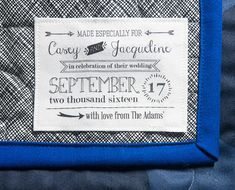 custom weddding quilt label, sewing label, wedding label, handmade label, fabric label, wedding blanket label, personalized label, marriage
