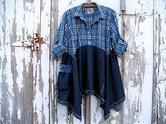 Upcycled Lagenlook Denim Tunic Dress, Blue Plaid, Cowgirl Prairie Shabby Chic Artsy Funky Baggy Pocket, Refashioned Eco Clothing,