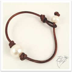 """Diana"" Leather and Pearl Bracelet.  Idea for using the glass beads I bought"