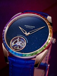 A flying tourbillon shines amid an aventurine sky, adorned by a gem-studded rainbow to make up the ultra-thin Tonda 1950 Moonbow. The post Tonda 1950 Moonbow appeared first on WATCHESPEDIA. Fine Watches, Cool Watches, Rolex Watches, Watch Companies, Watch Brands, Fleurier, Watch News, Vintage Pocket Watch, Plate