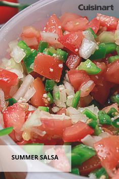 This fresh summer salsa can be topped on chicken, fish, tortilla chips, and more! Home Recipes, Healthy Recipes, Summer Salsa, Appetizer Recipes, Appetizers, Salsa Recipe, Salad Bar, Tortilla Chips, Summer Recipes