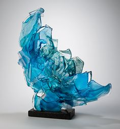 Blue Brimstone by Caleb Nichols (Art Glass Sculpture - Art glass and glass accessories - Skulptur Mosaic Art, Mosaic Glass, Fused Glass, Stained Glass, Blown Glass, Glass Beads, Art Of Glass, Glass Figurines, American Artists