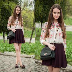 Sheinside Shirt, Bershka Skirt, Stradivarius Mini Bag, River Island Loafers