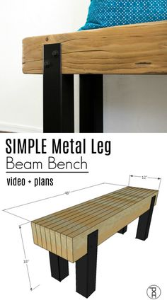 Learn how to make a rustic modern bench seat from a reclaimed beam or framing lumber and square steel tubing, following this easy video tutorial and FREE plans. #rusticbench #diyprojects #diyideas #diyinspiration #diycrafts #diytutorial #diy
