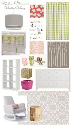 """Woodland girls nursery (the bottom color pallet.  Google search """"paint by numbers birch wall mural"""" to find the tree mural.  It looks easy enough that I think I will try to paint my own on a canvas instead of spending 70 dollars on a paint by numbers mural."""