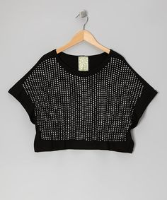 Take a look at this Black Rhinestone Cape-Sleeve Crop Top - Girls by Kiddo by Katie on #zulily today!