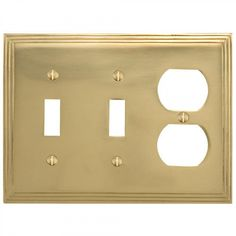 Deco Design Solid Brass Double Toggle and Outlet Plate