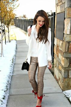 Kiss Me Darling: Bows & Sequin featuring Avery Lane sequin leggings, red bow heels, white blazer, boyfriend blazer, holiday outfit, holiday look, black crossbody, clutch