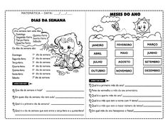 Vivendo com arte: ATIVIDADES: DIAS DA SEMANA/ MESES DO ANO Portuguese Language, Learn Portuguese, Months In A Year, Journal, Learning, Kids Bible Activities, Sight Word Activities, Language Activities, Index Cards