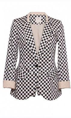 Slim fit plaid hit color one button suit black and white