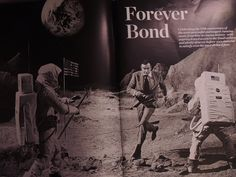 When Bond infiltrates the Techtronics research center in Diamonds Are Forever (1971), he discovers that the diamonds are beign used to arm a satellite with a laser beam. When he is discovered in the lab, he escapes across a lunar landscape film set being used for fake moon landing footage. Moon Landing, Lab, Bond, Diamonds, Cinema, Landscape, Film, Concert, Movie Posters