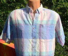vintage 70s MADRAS shirt plaid short sleeve button by skippyhaha