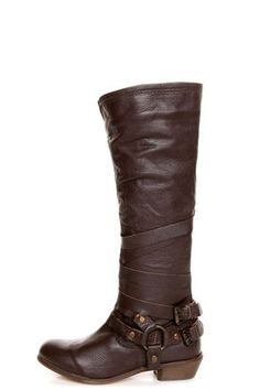 Lulu Naughty Monkey Desperado Chocolate Brown Belted Motorcycle Boots
