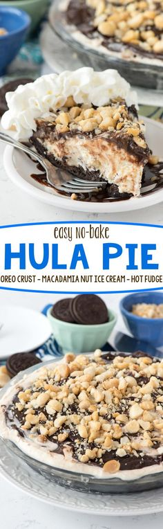 Easy No Bake Hula Pie Recipe - an easy no bake pie with an Oreo crust, macadamia nut ice cream, and hot fudge! No one could stop eating this pie!