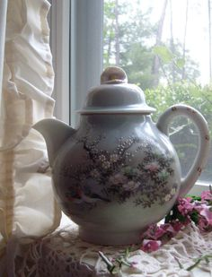Oriental Teapot Signed Teapot with Birds by MountainThyme1 on Etsy, $11.99