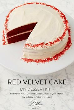 Red Velvet Cake, our namesake dessert, is a rich and moist red-hued cocoa cake topped with delicious cream cheese frosting, and with one of our Red Velvet DIY dessert kits, you can make a bakery-quality cake right from home! Includes pre-measured ingredients and a recipe card. See more of our desserts on our site at redvelvetnyc.com