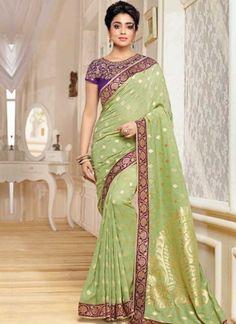 b866c03a24 Shriya Saran Pista Green Printed Banarasi Silk Designer Party Wear Sarees  http://www