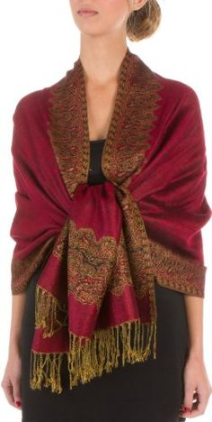 70 x 28 Border Pattern Double Layer Woven Fashion (Community) Shawl  Scarf  Wrap  Stole  Burgandy ** Read more reviews of the product by visiting the link on the image.
