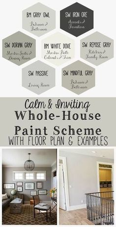 Calm and Inviting Whole House Paint Scheme. calm and inviting whole house paint scheme, home decor, paint colors, painting. Living Room Paint and Decor Paint Color Schemes, House Color Schemes Interior, Home Color Schemes, Grey Interior Paint, Interior Painting Ideas, Home Painting Ideas, Basement Color Schemes, Home Interior Colors, Kitchen Color Schemes