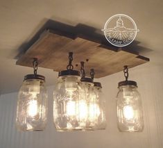 Mason Jar Flush Mount Ceiling Light with Reclaimed by LampGoods
