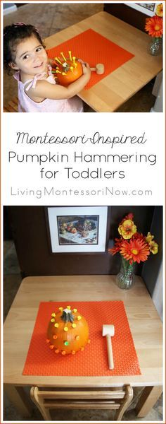 Here's a variation of the classic Montessori pumpkin hammering activity ... safe and simple enough for a toddler; perfect for Halloween or any time in the fall; post includes YouTube video and Montessori Monday permanent collection (scheduled via http://www.tailwindapp.com?utm_source=pinterest&utm_medium=twpin&utm_content=post104098929&utm_campaign=scheduler_attribution)