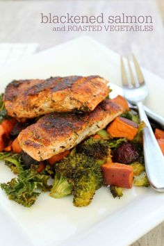 Blackened Salmon with Roasted Vegetables recipe -- A simple way to prepare fresh salmon. You probably have all the ingredients in your pantry right now!