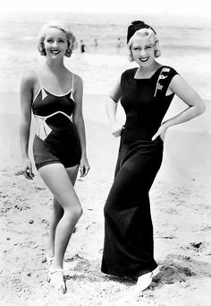 """Early Bette Davis in a swimsuit and Joan Blondell wearing what was called a Beach Pyjama. Both outfits designed by Orry-Kelly. Who else wants a Beach Pyjama now?"" Bette Davis looks so different Vintage Hollywood, Hollywood Glamour, Hollywood Stars, Golden Age Of Hollywood, Classic Hollywood, 1930s Fashion, Retro Fashion, Vintage Fashion, Bette Davis"