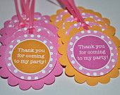 12 Birthday Party Favor Tags, Food Labels - Orange, Pink and White Polkadots