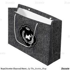Royal Scottie Charcoal Herringbone Large Gift Bag