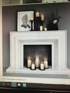 Empty Fireplace Ideas, Faux Fireplace Mantels, Fireplace Surrounds, Mantle, Dining Room Wall Decor, Dining Room Design, Living Room Interior, Home Living Room, Refurbished Furniture