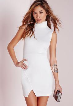 Turtle Neck Wrap Hem Bodycon Dress White - $30.60