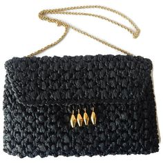 Rodo Crochet Raffia Purse Black Straw by EclecticVintager on Etsy
