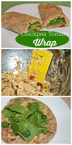 This Chickpea Tomato Wrap is a super easy meatless lunch recipe. Vegetarian or vegan lunch idea that is healthy, fast, and delicious.