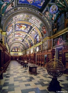 El Escorial, Madrid, Spain The library- it's GORGEOUS. The rest is gorgeous too, but not this finely decorated. Places Around The World, The Places Youll Go, Travel Around The World, Places To See, Around The Worlds, Escorial Madrid, Wonderful Places, Beautiful Places, Magic Places