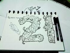 Doodleart using snowman drawing pen.